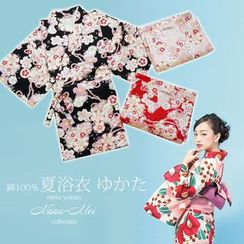 NANA Stockings - Set : Floral Print Kimono + Shorts