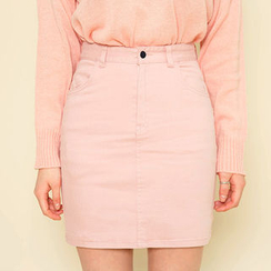 chuu - Pocket-Side Mini Pencil Skirt