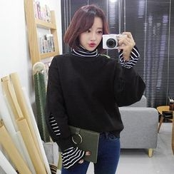 Seoul Fashion - Inset Mock-Neck Striped Top Sweatshirt