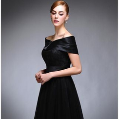 Fantasy Bride - Off-Shoulder Midi Prom Dress