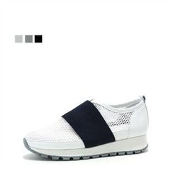 MODELSIS - Genuine Leather Perforated Slip-Ons