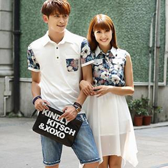 Igsoo - Couple Floral Polo Shirt / Sleeveless Dress