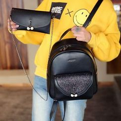 Youshine - Set: Faux Leather Backpack + Crossbody Pouch