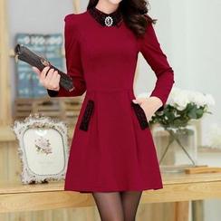 Fumiko - Embellished Long-Sleeve Collared Dress