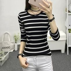 Cottony - Striped Long Sleeve Crewneck T-Shirt