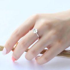 Blinglitz - 925 Sterling Silver Flower Ring