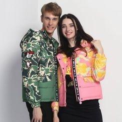 HappyTee - Camouflage Hooded Couple Puffer Jacket