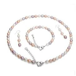 ViVi Pearl - Set: Multicolor Freshwater Pearl Necklace + Bracelet + Earrings