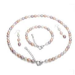 ViVi Pearl - 套装: 多色淡水珍珠项链 + 手镯 + 耳环