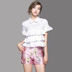 Ozipan - Set: Short-Sleeve Chiffon Blouse + Printed Shorts