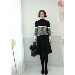 Lemite - Lace-Trim Color-Block Sweater