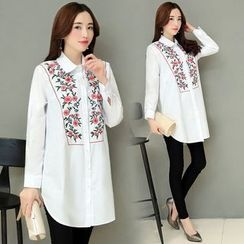 Rosehedge - Floral Embroidered Long Shirt