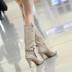 59th Street - Washed Toe Cap Belted Tall Boots