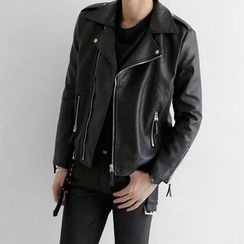 Seoul Homme - Faux-Leather Rider Jacket
