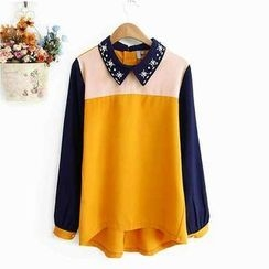 JVL - Color-Block Rhinestone Chiffon Blouse