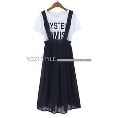 YOZI - Set: Printed T-Shirt + Jumper Skirt