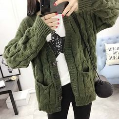 Soffitta - Plian Cable-Knit Loose-Fit Cardigan