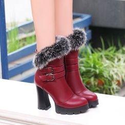MANMANNI - Faux-Fur Trim Ankle Boots