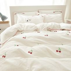 Petrie - Bedding Set: Cherry Embroidered Duvet Cover + Gingham Bed Sheet + Pillowcase