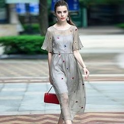 Queen Mulock - Mock Two Piece Short-Sleeve Embroidered Dress