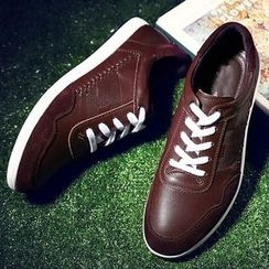 BINSHOU - Genuine-Leather Paneled Sneakers