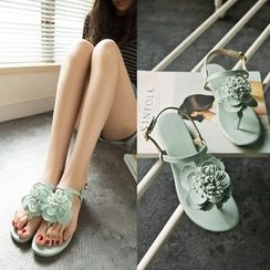 YOUIN - Flower-Accent Thong Flat Sandals