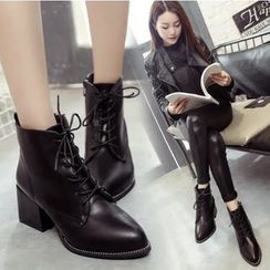Shoeland - Pointy Lace Up Short Boots