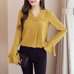 Cobogarden - V-Neck Bell-Sleeve Chiffon Blouse