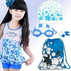 Aqua Wave - Kids Set of 5 : Fish Printed Drawstring Bag + Swim Hat + Goggles + Ear Plugs + Nose Clip