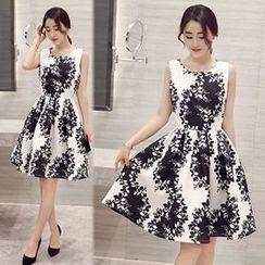 lilygirl - Floral Print Sleeveless A-Line Dress
