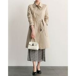 UPTOWNHOLIC - Hidden-Button Trench Coat With Belt