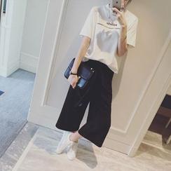 IndiGirl - Wide-Leg Cropped Pants