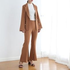 TAILO - Set: Notched-Lapel Double-Breasted Blazer + Boot-Cut Pants