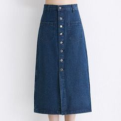 Yohana - Button-front Midi Denim Skirt