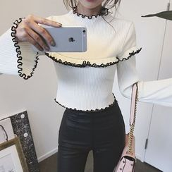 DABAGIRL - Frill-Trim Cropped Rib-Knit Top
