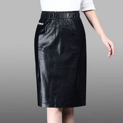 Manilu - Faux Leather Pencil Skirt