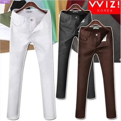 WIZIKOREA - Colored Slim-Fit Pants