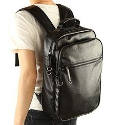 Moyyi - Faux Leather Laptop Backpack
