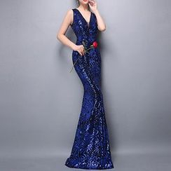 Posh Bride - Sequined V-Neck Sleeveless Evening Gown
