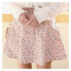 Sechuna - Floral-Pattern A-Line Mini Skirt