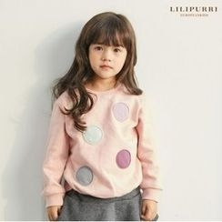 LILIPURRI - Girls Circle-Appliqué Brushed-Fleece Lined T-Shirt