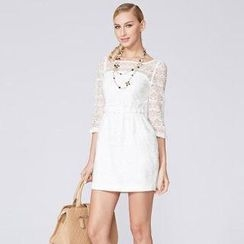 O.SA - Sheer-Sleeve Lace Sheath Dress