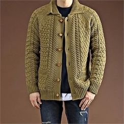 THE COVER - Dual-Pocket Cable-Knit Cardigan