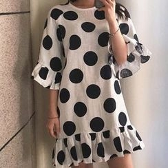 trendedge - Ruffle Trim 3/4 Sleeve Dotted Dress