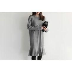 UPTOWNHOLIC - Round-Neck Ruffle-Hem Dress