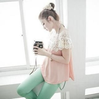 D.P-Shop - Crochet-Capelet Chiffon Top