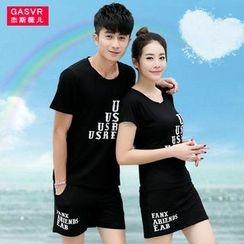 GASVR - Couple Matching Set: Short-Sleeve Print T-Shirt + Shorts / Skirt
