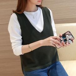 Ageha - 套裝: V領針織馬甲 + 長袖T恤