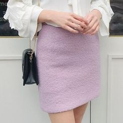 Seoul Fashion - Wool Blend Bouclé Mini Skirt
