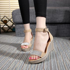 Hannah - Embellished Wedge Sandals
